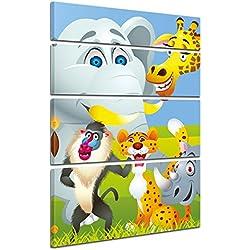 """Bilderdepot24 Cuadros en Lienzo """"Imagen de los niños - Animales de dibujos animados"""" 120x180 cm 4tlg - listo tensa, directamente desde el fabricante"""