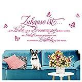 Grandora Wandtattoo Sprüche und Zitate Zuhause ist I pink (BxH) 120 x 52 cm I Flur Wohnzimmer modern Spruch Aufkleber selbstklebend Wandsticker Wandaufkleber W3058