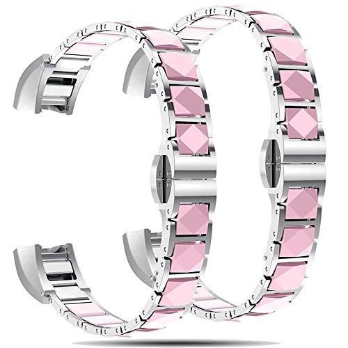 Für Fitbit Alta/Alta HR Metall Träger Ersatz Uhrenarmband Edelstahl Armbänder mit Keramik Stickerei Handgelenk Bands für Fitbit Alta/Alta HR Smart Watch, Frauen und Männer, große und kleine
