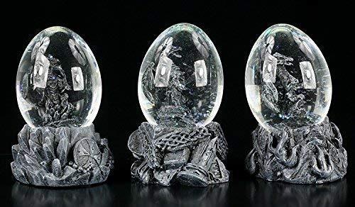 Drachen Figuren in Eiern | Schneekugel 3er Set | Gothic Fantasy Deko schwarz -