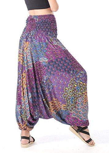 CandyHusky Damen Hose Schwarz schwarz One size Peacock Tail Purple