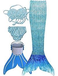 Kinder Mädchen Meerjungfrauenschwanz Meerjungfrau Flosse Schwimmanzug Badebekleidung 4pcs Bikini Sets