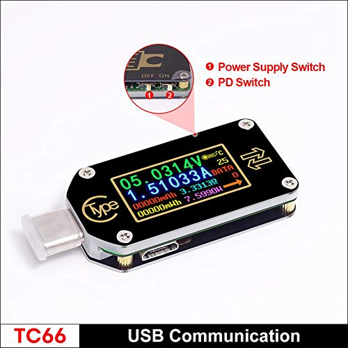 D.ragon USB C Tester Voltmeter Amperemeter Spannungsmesser Multimeter Farbdisplay USB Akku Tester Unterstützung APP PC TC66 Schnellladung PD 2.0/3.0 QC 2.0/3.0 (Tester App)