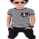 Yistu Boys Suits, New Summer Boys Navy Striped T-shirt And Pants Suits Children Clothing (6-7Y)