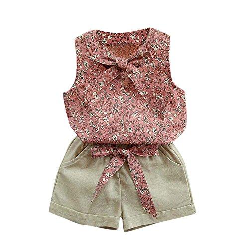 (Babykleidung Honestyi Kleinkind Kinder Baby Mädchen Floral Bowknot Weste T Shirt + Shorts Outfits Kleidung Set (Roas,140))