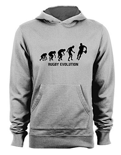 Felpa con cappuccio Rugby Evolution - evolution - rugby - sport - humor - in cotone Grigio