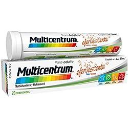 Multicentrum Adulto Complemento Alimenticio con 13 Vitaminas, 11 Minerales y Único Con Luteína, Con Vitamina B1, Vitamina B6, Vitamina B12, Hierro, Vitamina D, Vitamina C, 20 Comprimidos Efervescentes