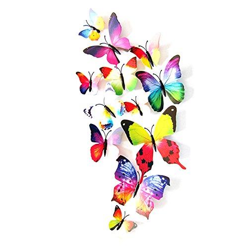 12 Stück 3D Schmetterlinge Wandtattoo Wandsticker Haus Dekoration Wandaufkleber Schmetterling Wanddeko Butterfly Wandsticker 3D Kühlschrank Aufkleber Wandbild Deko Kinderzimmer Wohnzimmer Rovinci -