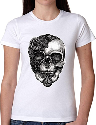 T SHIRT JODE GIRL GGG27 Z0633 SKULL ROSES ROCK MUSIC VINTAGE URBAN STYLE FUN FASHION COOL BIANCA - WHITE