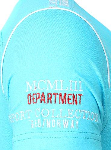 Geographical Norway Herren T-Shirt JISAC V-Ausschnitt Kurzarm mit Stickereien und Patches USA Kalifornien Sommer Türkis