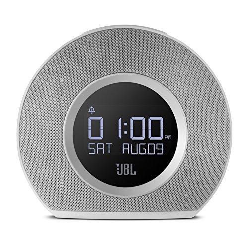 JBL Horizon - Radio despertador de doble alarma inalámbrico compatible con smartphones y tablets iOS/Android y dispositivos MP3 (Bluetooth, puerto de carga USB, luz LED ambiental despertar de amanecer), color blanco