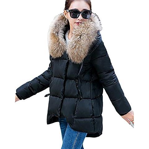 SaiDeng Mujer Faux Fur Cálido Invierno Capa Largo Manga Chaqueta Abrigo Con Capucha