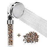 Wemk Filtration Duschkopf 3 Strahlarten Duschbrause 35% Wassersparend Doppelfiltrationssystem Hochdruck Duschkopf mit einer Packung Mineralkugelersatz