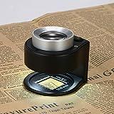 CALDIPREE 30X Handheld LED Optical Glass Scale Magnifier Magnifying Glass Jewelry Loupe with LED Light UV Illuminated Lamp