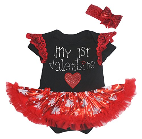 Petitebelle 1st Valentine Heart Ruffle Lace Black Bodysuit Bell Red Tutu Nb-18m (12-18 Months)