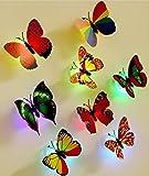 OPEN BUY 10 unds Mariposas Autoadhesivas con luz led Colores Surtidos Decoracion Ideal para dormitorios Salones terrazas Loft caravanas escaleras