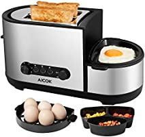 Aicok Grille Pain, Multilfonction Grille Pains avec Cuiseur à œufs et Poêles électrique, 3 in 1 Automatique Grille Pain Inbox avec 7 Niveaux de Brunissage, Sans BPA, 2 Fentes, 1250W, Argent