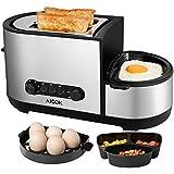 Aicok Multifunktions-Toaster, Multifunktionale Spiegelei Toast, 2-Scheiben Toaster mit Eierkocher, 7 Röstgradstufen, 5-in-1 Toaster, 1250W, Silber