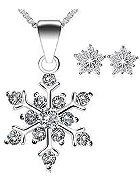 Damen Sterling Silber Zirkonia Schneeflocke Anhänger Halskette. For Frauen Mädchen. (f1650) + free Silber Zirkonia...