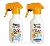 Garnier Ambre Solaire Sonnenschutz Spray Kids / Sonnenspray für Kinder extra wasserfest / LSF 50+, 2er Pack - 2x 200 ml