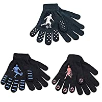Rjm 1 or 3 Pairs Boys Gripper Magic Gloves Football Designs