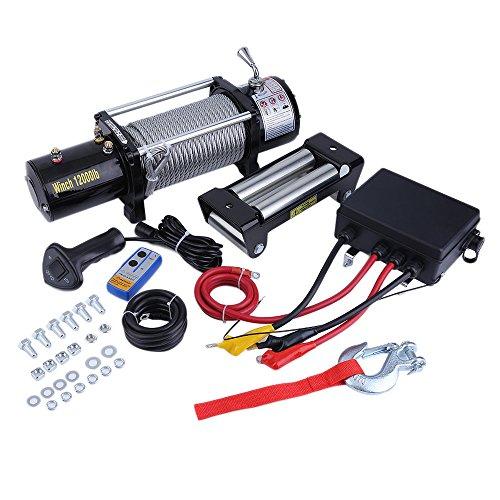 Elektrische Seilwinde 12Volt 12000 lb / 5440 kg mit Funkfernbedienung Ideal für FORST,ANHÄNGER,OFFROAD,BOOT,JÄGER,TRAILER,ABSCHLEPPER,TRAKTOR