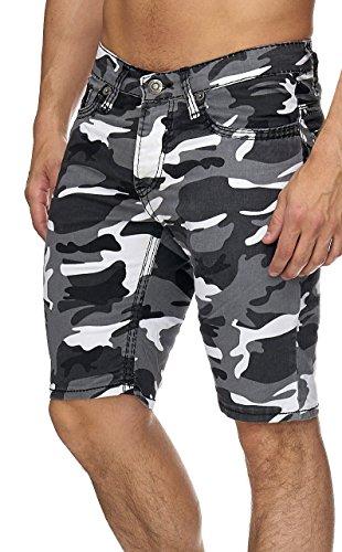 Herren Bermuda Jeans Grau Camou (W32, 3160)