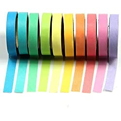 10 x decorativo de Washi Tape arco iris rollos de papel para Manualidades DIY
