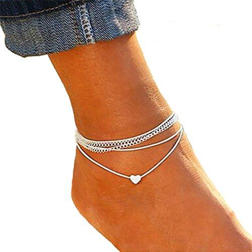 Timetries Multicouche Bracelet de Cheville Petit Amour Pendentif Argent Femmes Pied Bijoux Pieds Nus Sandale Plage Cheville Bracelet