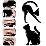 MLMSY Cat Eyeliner Stencil Matte PVC Material Repeatable Use Smokey Eye Stencil Models Template Shaper Tool Professional Multifunction Black Cat Shape Eye Liner Eye Shadow For Everyone from Beginner to Professionals (Black Cat 1 Pair)