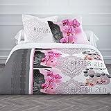 Today 013050Enjoy Zen Rester Zen–Juego de cama con funda de edredón/2fundas de almohada de algodón blanco/gris/rosa 240x 260cm
