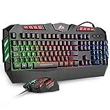 Rii Gaming RK900+ (Layout Italiano) - Set Tastiera con Anti-Ghosting e Mouse con Sensibilità Regolabile Fino a 2400 DPI (con retroilluminazione LED Arcobaleno)