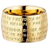 GILARDY GHR-R1YG19 Human Rights Ring R1 Edelstahl Gravur | Schmuck Menschenrechte (Yellowgold, 60 (19.1))