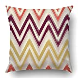 TEPEED Throw Pillow Covers Zigzag Orange Brown Yellow Chevron Pattern Ikat Zag Zig Modern Fire Accessories Bikini Polyester 18 X 18 inch Square Hidden Zipper Decorative Pillowcase
