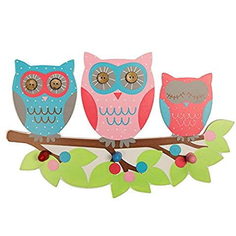Just Contempo Kids Owls on Branch Triple Wall Hook, Wood, Pink, 20 x 30 cm