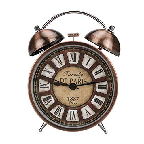 Bestcool Despertador Retro, Despertador clásico Junto a la Cama Despertador de Doble Campana de Cuarzo Despertador Ruidoso Vintage con luz Nocturna de Dormitorio (Batería no incluida)