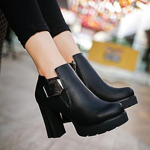 zz&Y Alti talloni delle signore delle scarpe delle donne del partito di modoBlack Semi-gloss finish,35