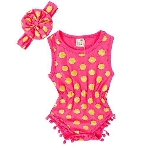 URSING Baby Mädchen Ärmellos Bommel Anhänger Spielanzug + Stirnband Neugeboren Säugling Kleider Outfits Set (Rot, 6M)