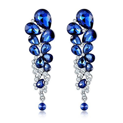 Jewels Galaxy Blue Crystal Dangle & Drop Earrings For Women
