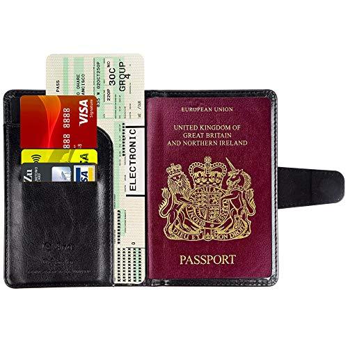 Leder Passport Wallet (Arae Reisepasshülle,PU-Leder Passport Wallet mit Kartensteckplätzen und RFID-Blockiung)