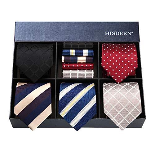 Hisdern Lot 5 Stuck Klassisch Formal Elegant Herren Seidenkrawatte Set-Krawatte & Einstecktuch-mehrere Sets ¡ Formale Krawatte