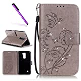 EMAXELERS LG Stylus 2 Hülle PU Brieftasche Hülle Schutzhülle Tasche Ledertasche Kartenfach Flip Cover Wallet Case für LG Stylus 2 LS775/LG G Stylo 2 K520,Gray Butterfly with Diamond