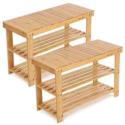 SONGMICS Schuhregal, Schuhschrank mit Sitzbank, Bambus Schuhbank mit 3 Ablagen, 70 x 28 x 45 cm ideal für Flur, Bad, Wohnzimmer, Diele LBS04N-2 - 70% Bambus
