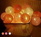 LED Lichterkette mit Kugeln, Morbuy 6CM Baumwollkugeln Mit 10/20/30 Bällen Batteriebetrieben Deko Licht Festlich Hochzeiten Geburtstag Party Cotton Ball Themen Weihnachten Lichterkette Dekorative (4.8m / 30 Lichter, Orange)