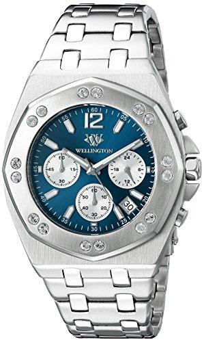 Wellington WN511-131 - Reloj analógico de cuarzo para hombre con correa de piel, color plateado