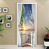 xiaoyuershop Tür Aufkleber 3D Selbstklebende Wandkunst Landschaft Aufkleber Für Zu Hause Tür Dekoration Renovierung Tapete Druck Leinwand Bild 95X215 cm