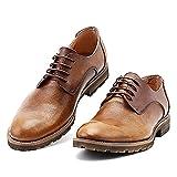 MERRYHE Mens Echtes Leder Lace-up Derby Schuhe Handmade Burnish Leder Blucher Schuh Für Party Outdoor Hochzeit Arbeit Geschäft,Khaki-44