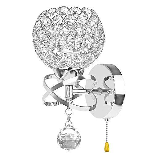 Onerbuy Moderne Cristal Applique Murale Miroir Luminaire Décoratif E14 Douille Murale Lampe De Montage Pour Chevet, Porche, Couloir, avec Interrupteur Tirette