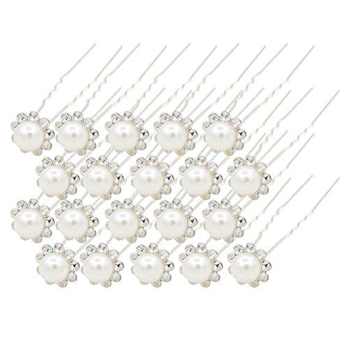 LEORX Haarnadeln Schöne 20Stk Damen Hochzeits-Perle Strass U-förmige Haarnadeln Haarspangen