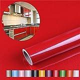 Liveinu Aufkleber Küchenschränke PVC Tapeten Küche Selbstklebend Klebefolie Möbel Wasserfest Aufkleber für Schrank Küchenschränke Möbel Selbstklebende Folie Küchenschrank Küchenfolie Dekofolie Rot 0.6x10m